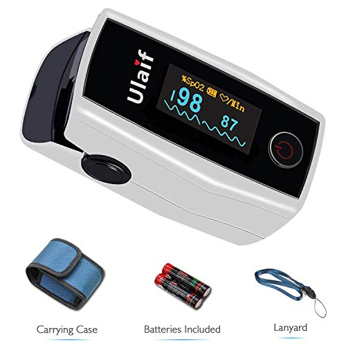 ULAIF Fingertip Pulse Oximeter with OLED Display Portable Oximetry Blood Oxygen Saturation Monitor SpO2 Finger Pulse Oximeter Readings with Carrying Case Lanyard and Batteries FDA Approved