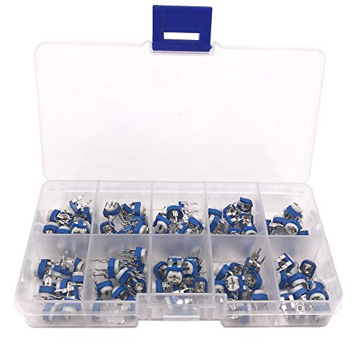Potentiometer Mini - Seloky 100 Pcs 10 Value 100 ohm- 2M ohm Trimpot Variable Resistor 6mm Potentiometer Assortment Kit