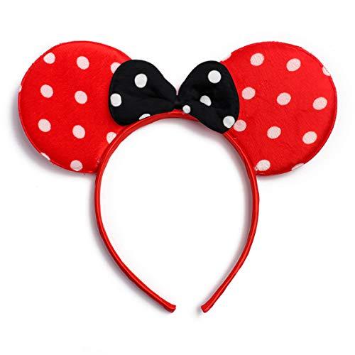 Cute Costume Cosplay Hair Accessory Headpiece - Festive Halloween Headband Minnie Mouse Polka Dot Bow Ear/Patriotic American Flag/Rhinestone Stars/USA (Minnie Mouse - Red/Black)