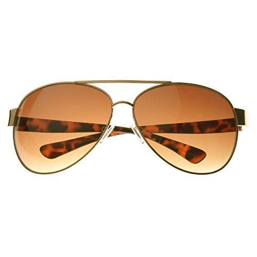 SWG EYEWEAR® Premium Sunglasses UV400 Gold Frame Fashion Aviator Amber Gradient Lens ()