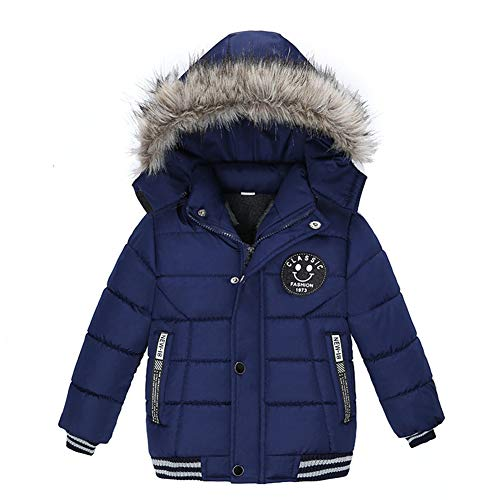 Goodkids Toddler Boys Down Jacket Winter Jacket Hooded Thickened Warm Snowsuit Coat Parka Outerwear (Blue 120)