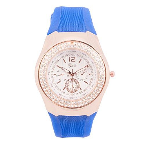 Yaki Gummiband Uhr Damenarmbanduhr Sportuhr Quarzuhr Damen Frauen Uhren Marken Rund Blau mit Strass