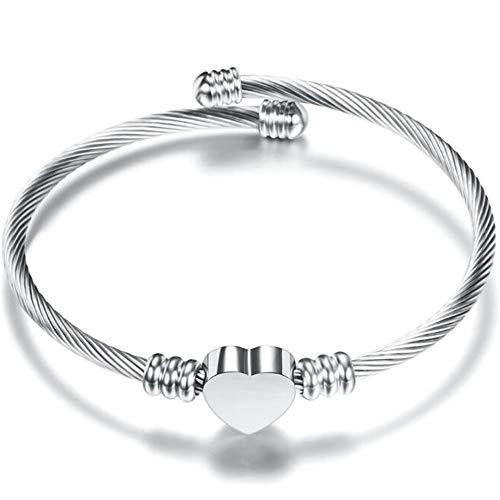 Jude Jewelers Stainless Steel Adjustable Open Cuff Heart Charm Bangle Bracelet ()