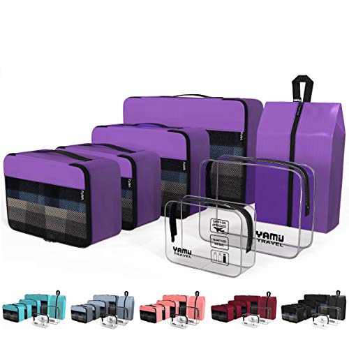YAMIU Packing Cubes 7-Pcs Travel Organizer Accessories with Shoe Bag & 2 Toiletry Bags(Purple)