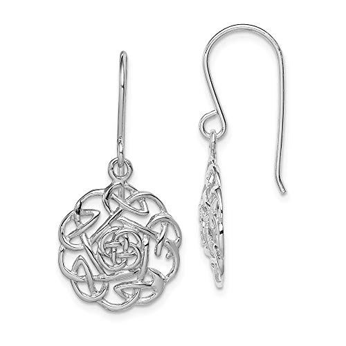 (925 Sterling Silver Irish Claddagh Celtic Knot Shepherd Hook Drop Dangle Chandelier Earrings Fine Jewelry Gifts For Women For Her)