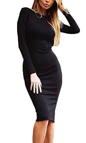 Mujer Vestidos Vestidos De Fiesta De Coctel Elegantes Manga Lindo Chic Larga Cuello Redondo Espalda Descubierta con Cremallera Slim Fit Moda Vestido Fiesta Vestido Coctel Medium Largos Negro