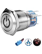 "Quentacy 19mm 3/4"" Latching Pushbutton Switch LED 12V DC 5A 250V AC Power Symbol ON-OFF Waterproof Toggle Switch Stainless Steel Shell with Wire Connector Plug(Red light)"