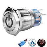 Blue Quentacy 16mm Momentary Push Button Switch Ring Light Wired Waterproof Switch