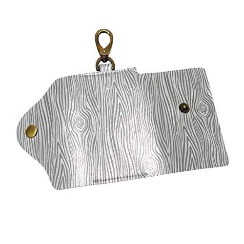 Gray Large Woodgrain Key Case Wallets Leather Unisex Keychain Key Holder Ring with 6 Hooks Snap - Snap Woodgrain