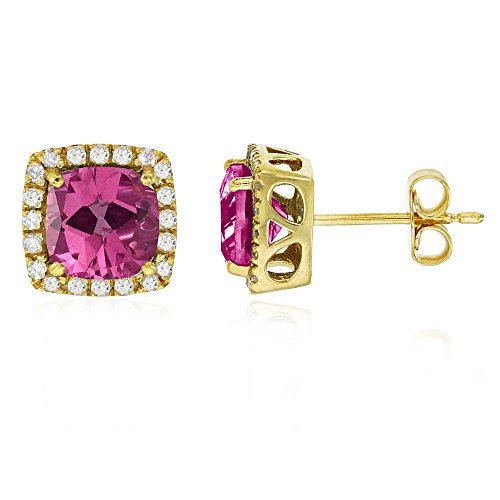 - Sterling Silver Yellow 6mm Cushion Pure Pink & Cr White Sapphire Halo Stud Earring