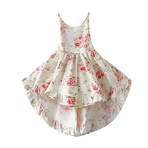 Summer Girl Lace Bandage Backless Dress Sweet Floral Print Casual Dress with Headband (2T, White)]()
