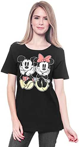 Mickey & Minnie Mouse Woman's T-Shirt Distressed Graphic Print