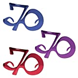 Pack of 6 Blue, Purple and Red ''70'' Birthday Fanci-Frame Eyeglass Party Favor Costume Accessories