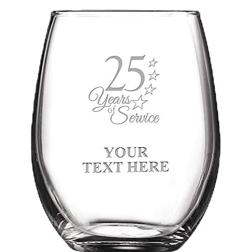 (25 Year of Service Personalized Wine Glass - 9 oz Custom Soiree Stemless Employee Anniversary Wine Glass Gift, Engraving Included Prime)