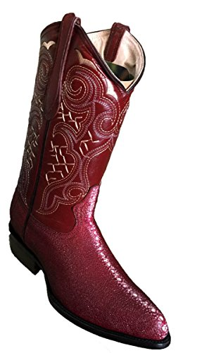 (Western Men Genuine Leather Handmade Stingray Print Boots_ Burgundy_7.5)