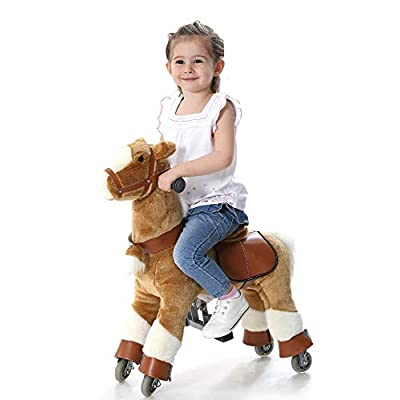 Golden Tan SMALL Trotting Action Horse Pony Ages 2-5 Boys & Girl Ride on Cycle Giddy Up Cowboy! by TODDLER TOYS: Toys & Games