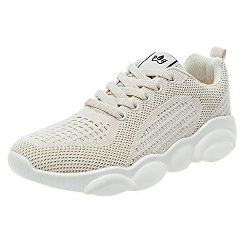 Shoes for Women Dainzuy Women's Lightweight Walking Shoe Breathable Sneakers Mesh Running Slip-On Sports Lace-Up Flats Beige