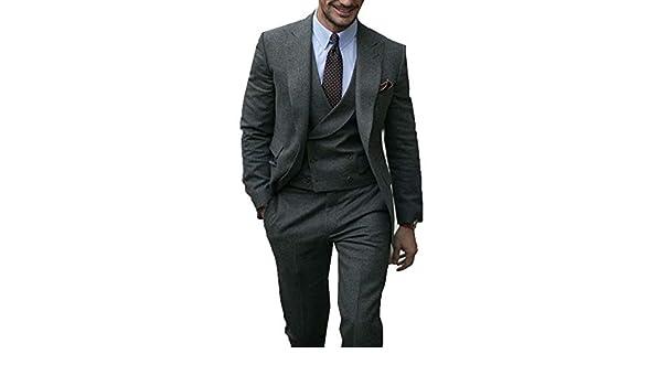 5d2722e936 RONGKIM Mens Suit 3 Pieces Slim Fit Grey Autumn Winter Thick Latest Coat  Pant Wedding Dress Tuxedos at Amazon Men's Clothing store: