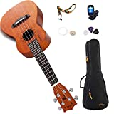 WINZZ Mahogany Plywood Soprano/Concert Hawaii Ukulele with Bag, Tuner, Strap, Picks, Extra Strings (23 Inches, Natural)
