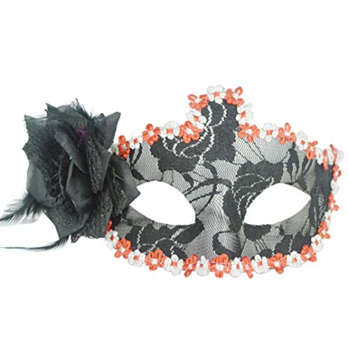 SUJING Masquerade Mask Halloween Mask Venetian Mask Party Decoration Halloween Party Decor Novelty Gifts (Black) -