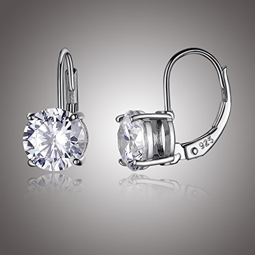 Platinum Plated Sterling Silver Round 7.5mm Cubic Zirconia Leverback Earrings