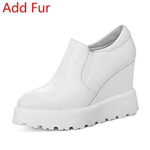 Para Piel Calzado Blanco Cuña Antideslizantes Mujer Otoño De Blanca Tacón Plataforma Negro Zapatillas Plana Primavera 7xOa0Xqqw