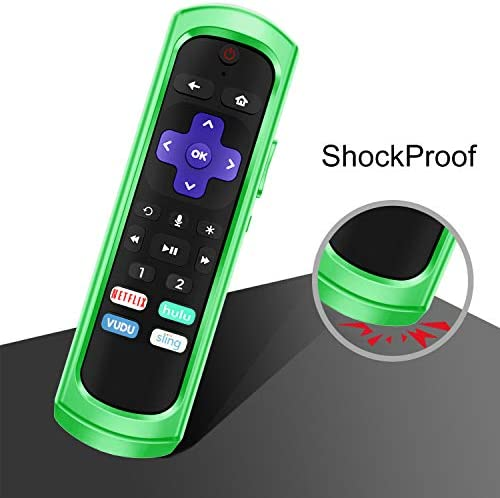 CaseBot Case for Roku Ultra 4670 (2019)/ 4661 (2018)/ 4660 (2017), Roku 1/2/ 3/4 Remote Controller- (Honey Comb Series) Light Weight (Anti Slip) Shockproof Silicone Cover, Green Glow