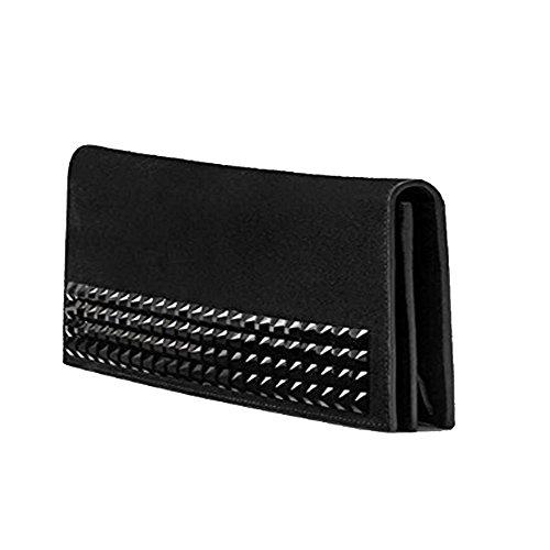 Gucci Women's Broadway Clutch Handbag Black Suede with Swarovski Studded Crystals 371928
