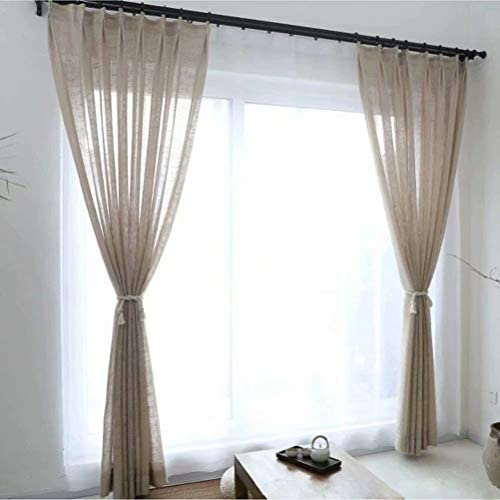 Leadtimes Cambric Beige Sheer Curtains Grommet Decorative Window Drapes ONLY 1 Panel W100 x L102 Inch