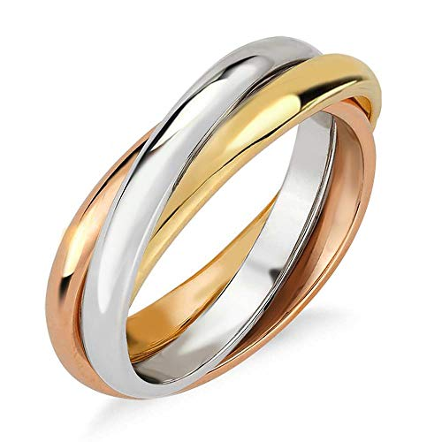 Samie Collection 3 Band Interlocked Trinity Russian Rolling Ring Wedding Band for Women in 18K Tri Color Gold Plating, 3mm, Size 5-10