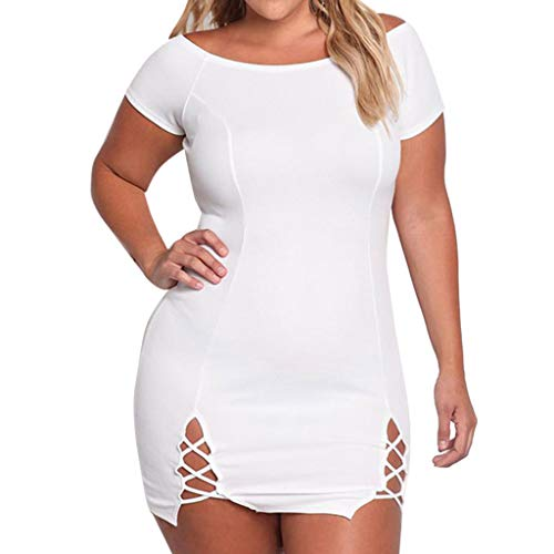iPOGP Fashion Women Sexy Plus Size O-Neck Solid Soft Bandage Hollow Out Bodycon -