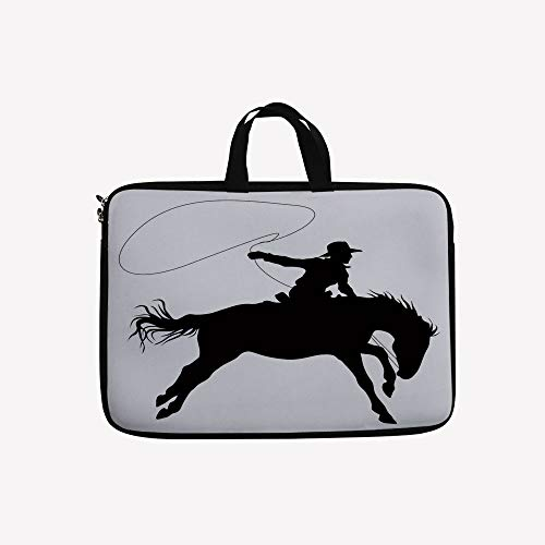 Sport Dual Riders (3D Printed Double Zipper Laptop Bag,Riding Horse Rider Rope Sport Country Western Style,17 inch Canvas Waterproof Laptop Shoulder Bag Compatible with 17