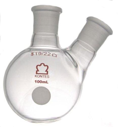 Kimble Chase KIMAX 295010-0025 Two-Neck Round Bottom Flask, Side Neck Angled, Borosilicate Glass, 25 ml