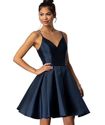 Yilis V-Neck A-line Satin Plus Size Homecoming Dress Short Formal Evening Party Gown Ruched Skirt Size 18W Navy Blue from Yilis