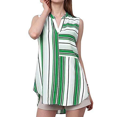 (Aniywn Women's Casual Chiffon Blouse Elegant Split V Neck Cuffed Sleeve Striped Blouses Shirt Tops)