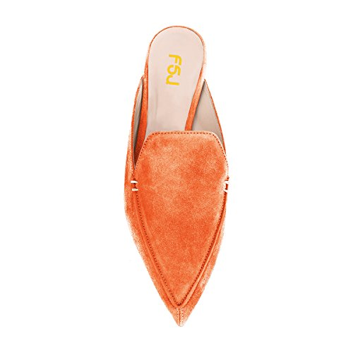 4 Suede Casual Toe Slip Orange FSJ Fashion Low 15 On Mules Women Heels US Shoes Faux Sandals Pointy Size t88WZgqr