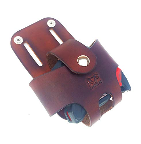 Basket Style Leather Tape Measure Holder by AP Saddlery (Dark Brown) - Leather Tape Holder