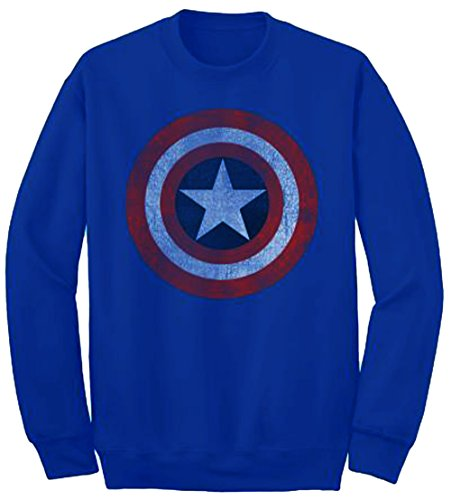 Captain America Star - Marvel Captain America Star Shield Crew Fleece (X-Large, Royal)
