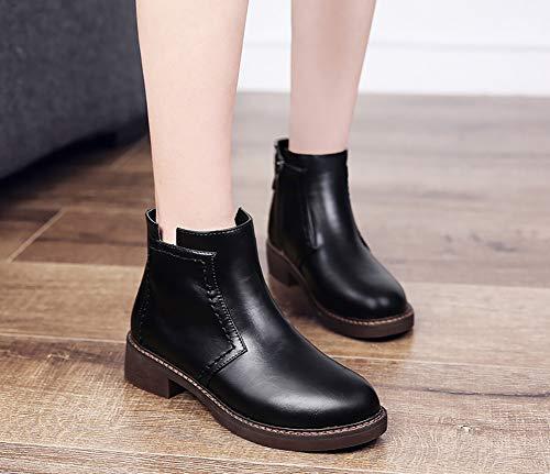 En Martin Single Casual Cuir 36 couleur British Pour Chaussures Femme Noir Noir Hwf Femmes Taille gqxH1