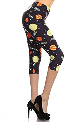 R698-CA-PLUS Space Invaders Capri Print Leggings