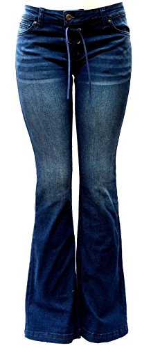 Wax Jean Womens Juniors 70s Trendy Slim Fit Flared Bell Bottom Denim Jeans Pants (Dark Blue Wash, 13)
