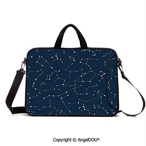 AngelDOU Laptop Shoulder Bag Waterproof Neoprene Computer Case Milky Way Inspired Pattern with Cluster of Fixed Stars in Night Sky with Handle Adjustable Shoulder Strap and External Side Pocket Blue