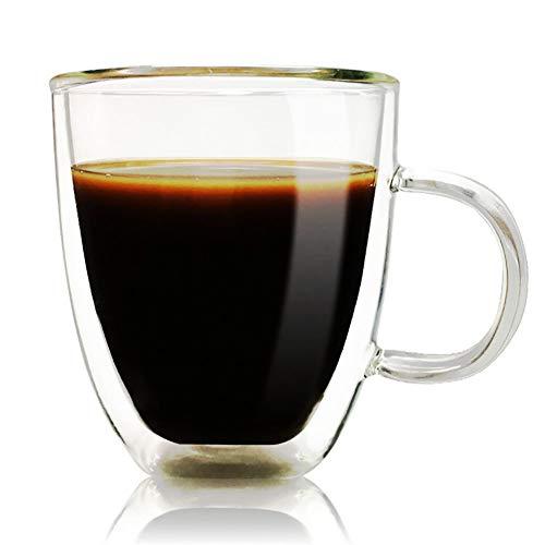 12oz Coffee Mug, Double Wall Glass Tea Cup Crystal Insulated Mug with Handle,Set of 1