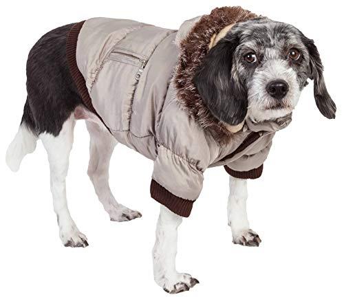 (PET LIFE Classic Metallic Fashion Pet Dog Coat Jacket Parka w/ 3M Insulation and Removable Hood, Small, Metallic Grey )