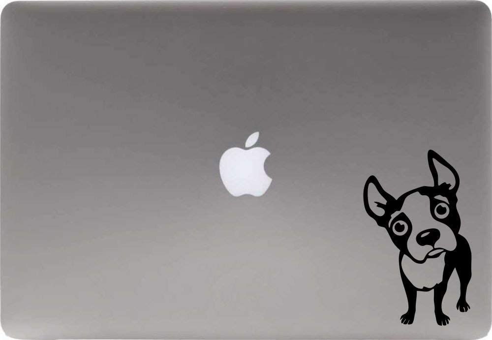 Dog Boston Terrier Version 1 Vinyl Decal Sticker for Computer MacBook Laptop Ipad Electronics Home Window Custom Walls Cars Trucks Motorcycle Automobile and More (Black)