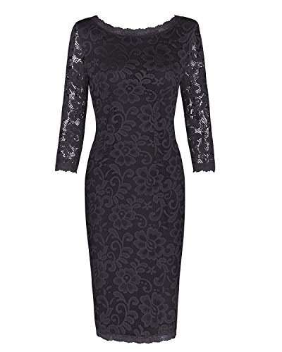 OUGES Women's 3/4 Sleeve Lace Cocktail Party Dress(Black,XL)