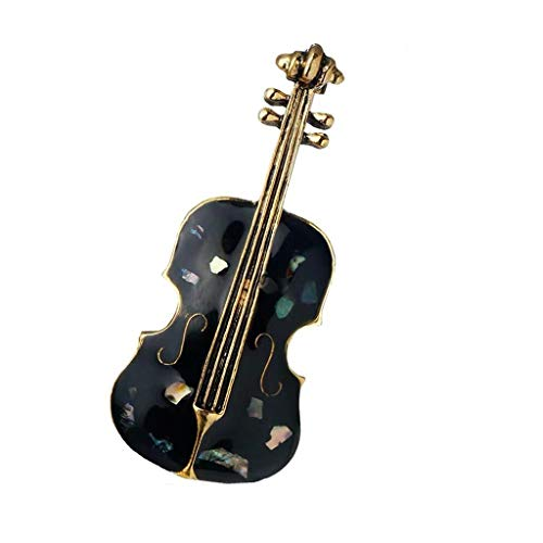- QXX Violin Brooch Female, Natural Shell Craft, Multi-Functional Design, Dress Suit Coat Brooch Jewelry, Black and White 4.8×2cm (Color : Black)