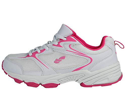 Comfort Casual Gym Footwear Running Lace up Ladies Lightweight Galop Pink White Mesh Shoes 816109 Foster Trainers Sports H7fqxvv