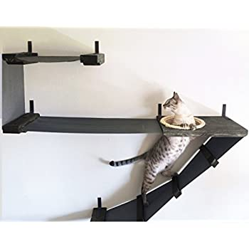 wall mounted cat furniture. catastrophicreations deluxe cat playplace hammock climbing activity handcrafted wall-mounted tree, onyx wall mounted furniture h