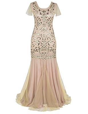 PrettyGuide Women's Sequin Evening Dress 1920s Flapper Long Mermaid Formal Dress